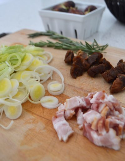 Fall Flammkuchen Recipe with Leeks, Figs, Bacon, Goat Cheese