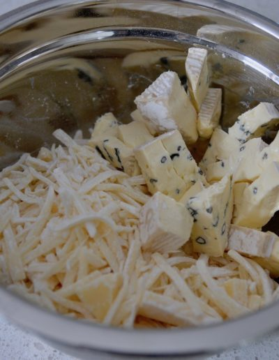 Swiss and Cambozola Cheeses for Rustic Beer Cheese Fondue