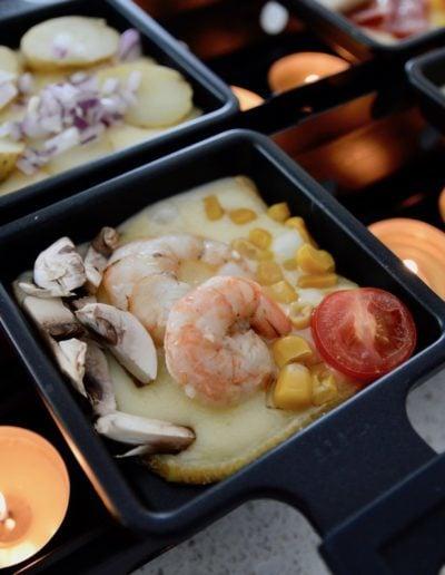 Shrimp, Mushroom, Corn and Tomato Toppings for Raclette