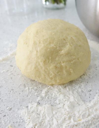 Strudel dough before taking an oil bath