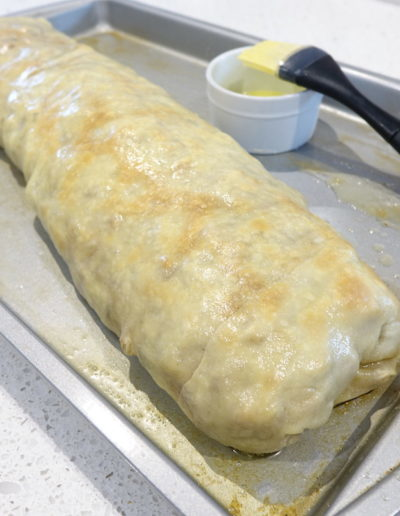 Strudel after baking and brushing with butter